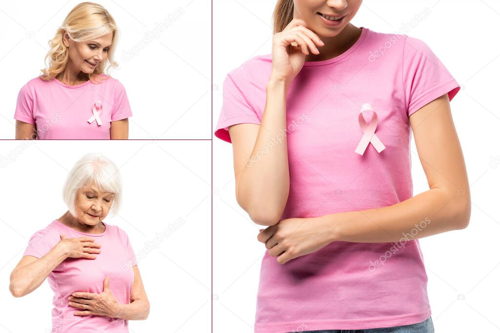 Collage of women with pink ribbon of breast cancer awareness on t-shirts isolated on white stock vector