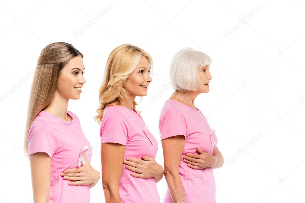 Women in pink t-shirts touching breasts isolated on white, concept of breast cancer stock vector
