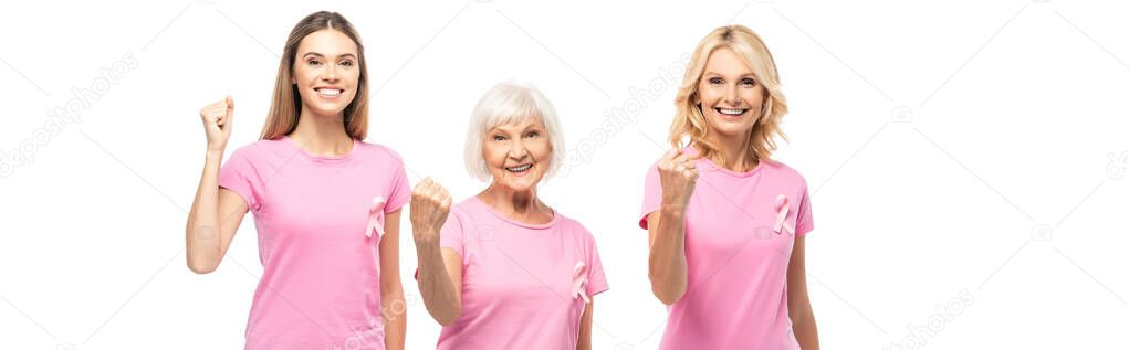Panoramic shot of women in t-shirts with ribbons of breast cancer awareness showing yeah isolated on white stock vector