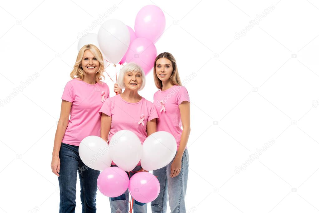 Women with pink ribbons and balloons looking at camera isolated on white stock vector