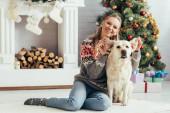 šťastná žena ve svetru sedí na podlaze a hraje si s labradorem v blízkosti vánočního stromku