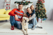 happy parents in sweaters cuddling labrador near daughter and decorated christmas tree
