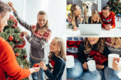 collage of happy family laughing while watching movie near dog, holding cups and decorating christmas tree