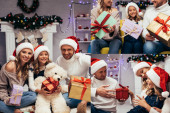collage of joyful family in santa hats holding gifts in decorated living room on christmas