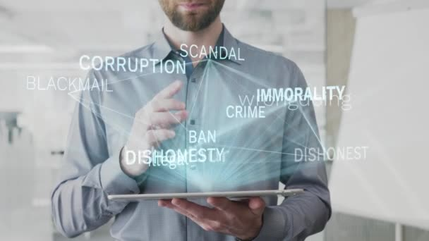 immorality, behaviour, asocial, illegal, dishonest word cloud made as hologram used on tablet by bearded man, also used animated corruption scandal crime ban word as background in uhd 4k 3840 2160