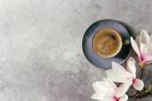 Blu della tazza di caffè nero espresso e magnolia fiori primavera rami sopra priorità bassa grigia di struttura. Vista dallalto, lo spazio della copia. Cartolina dauguri di primavera, sfondi