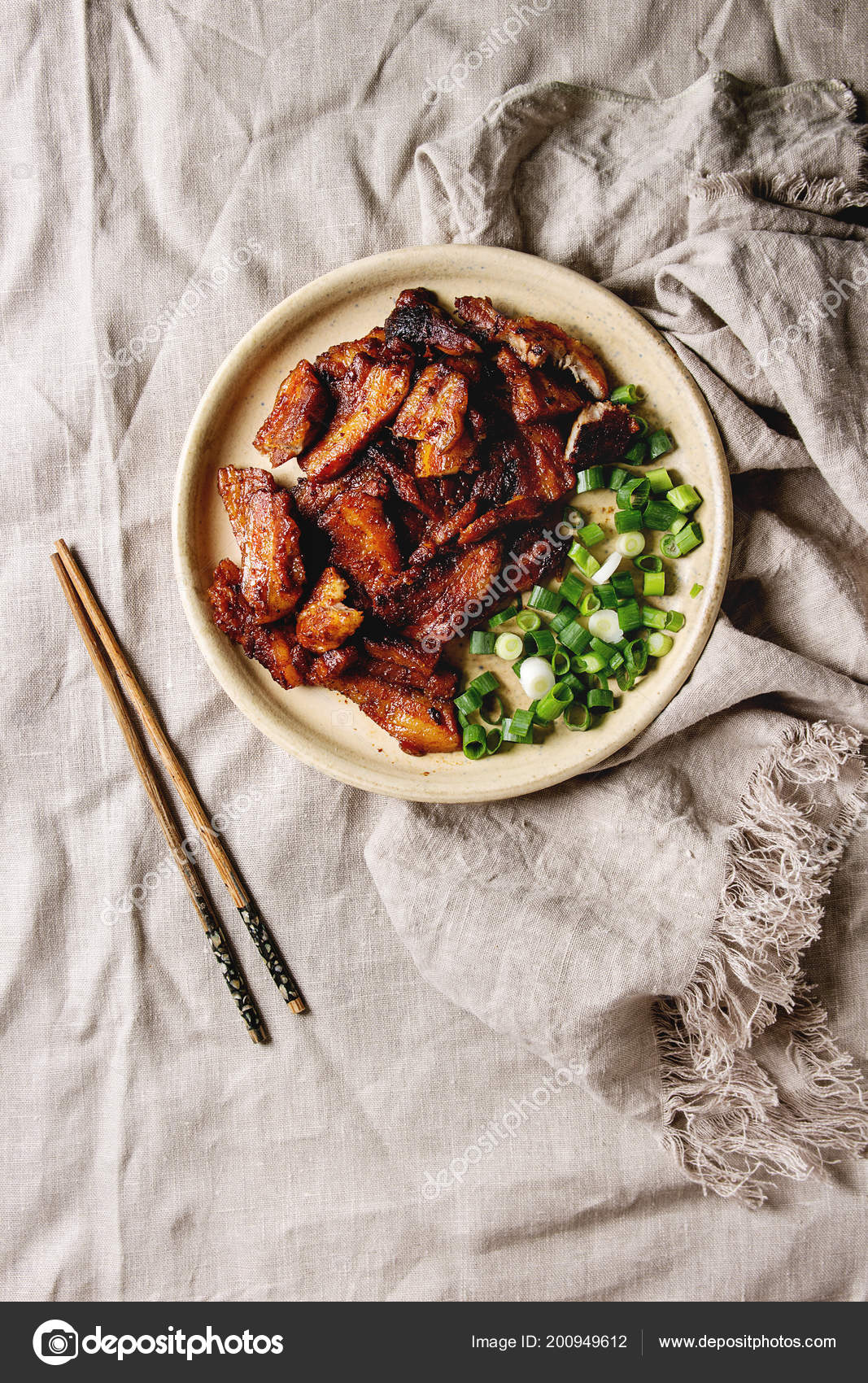 Chinese Traditional Dish Cantonese Bbq Pork Belly Spring