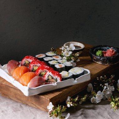 """Картина, постер, плакат, фотообои """"sushi set nigiri and sushi roll арт ван гог"""", артикул 303428412"""