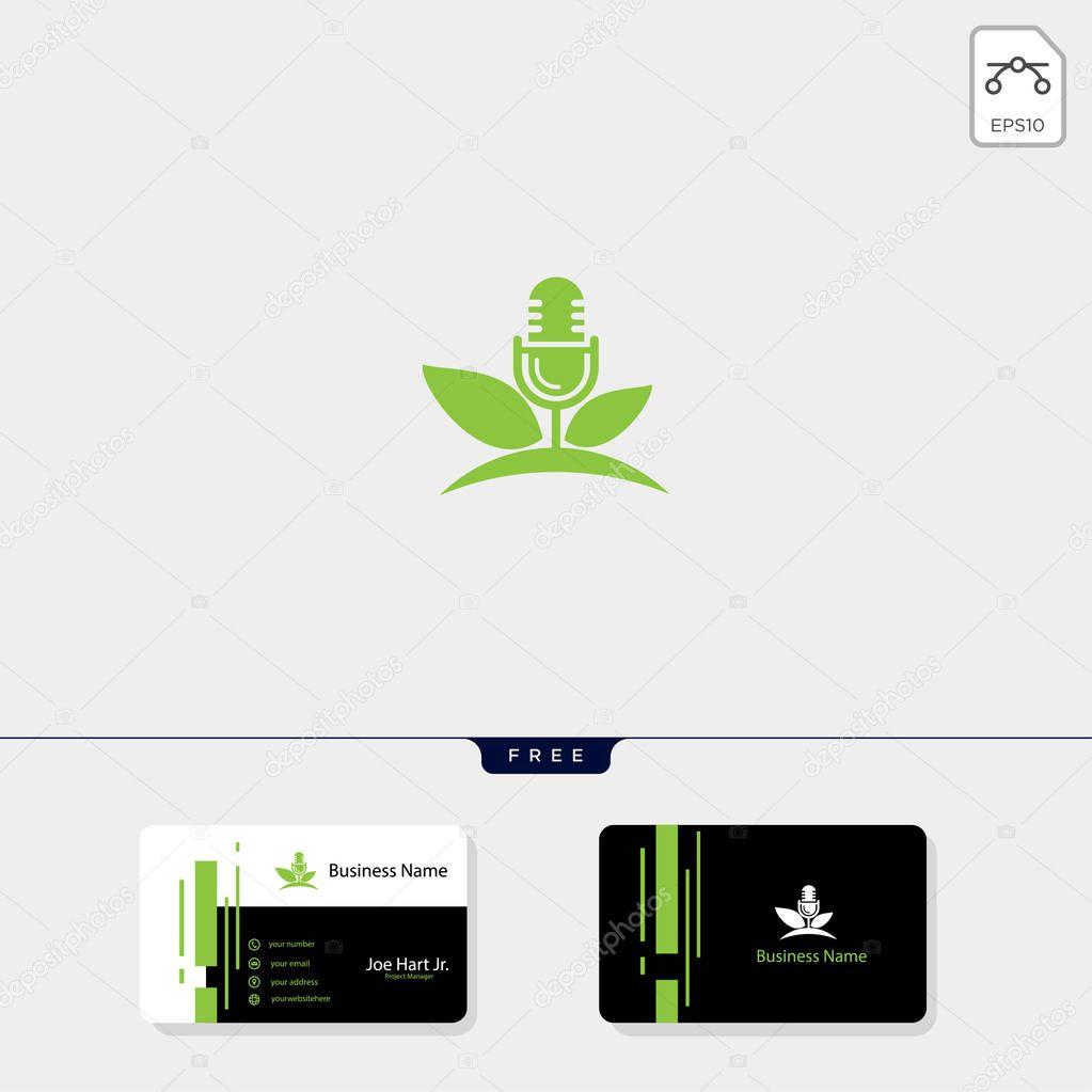 eco leaf podcast creative logo template vector illustration, get free business card design template