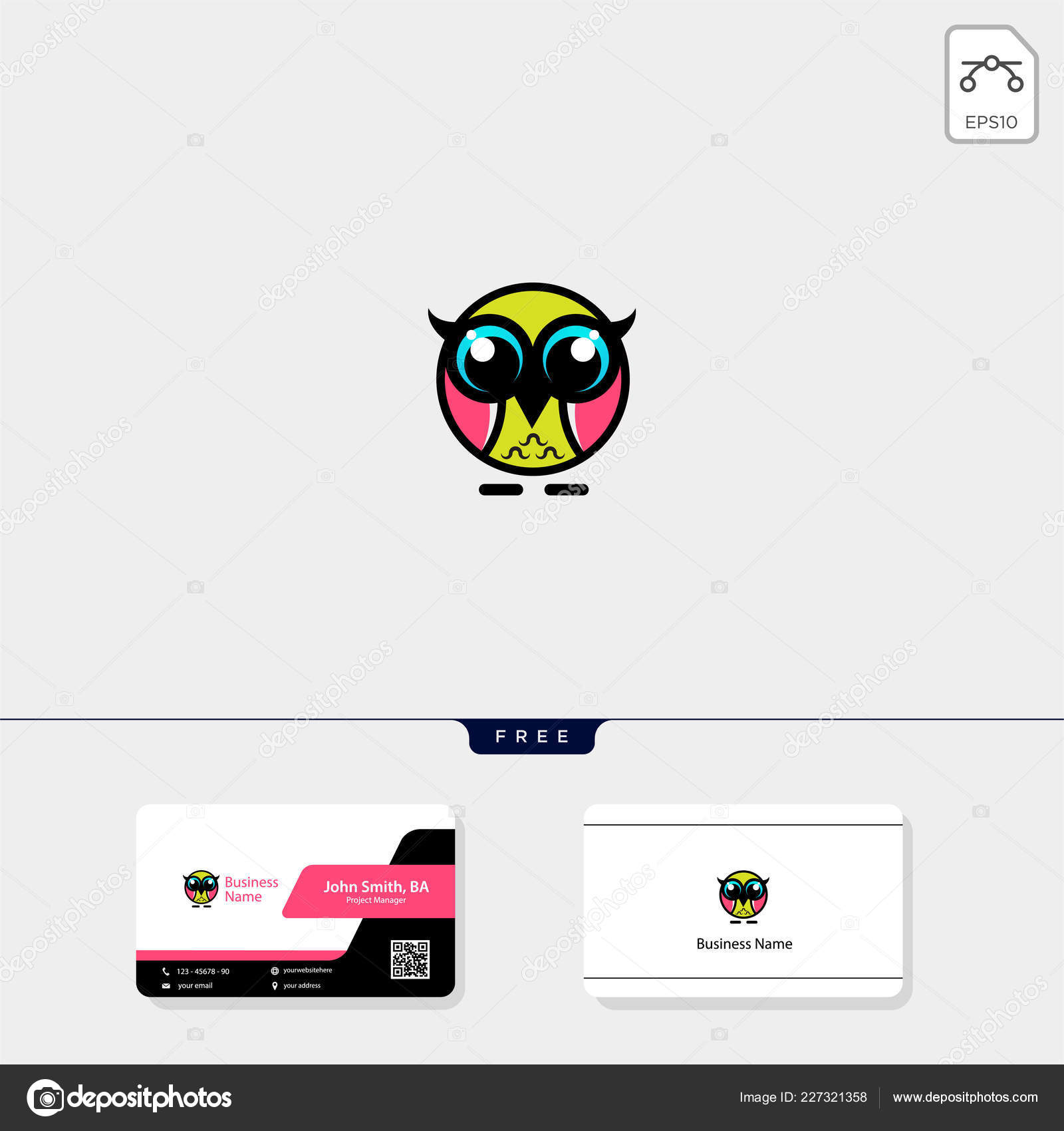 Illustration De Hibou Mignon Logo Template Vecteur Modele Conception Carte Visite Gratuit Stock