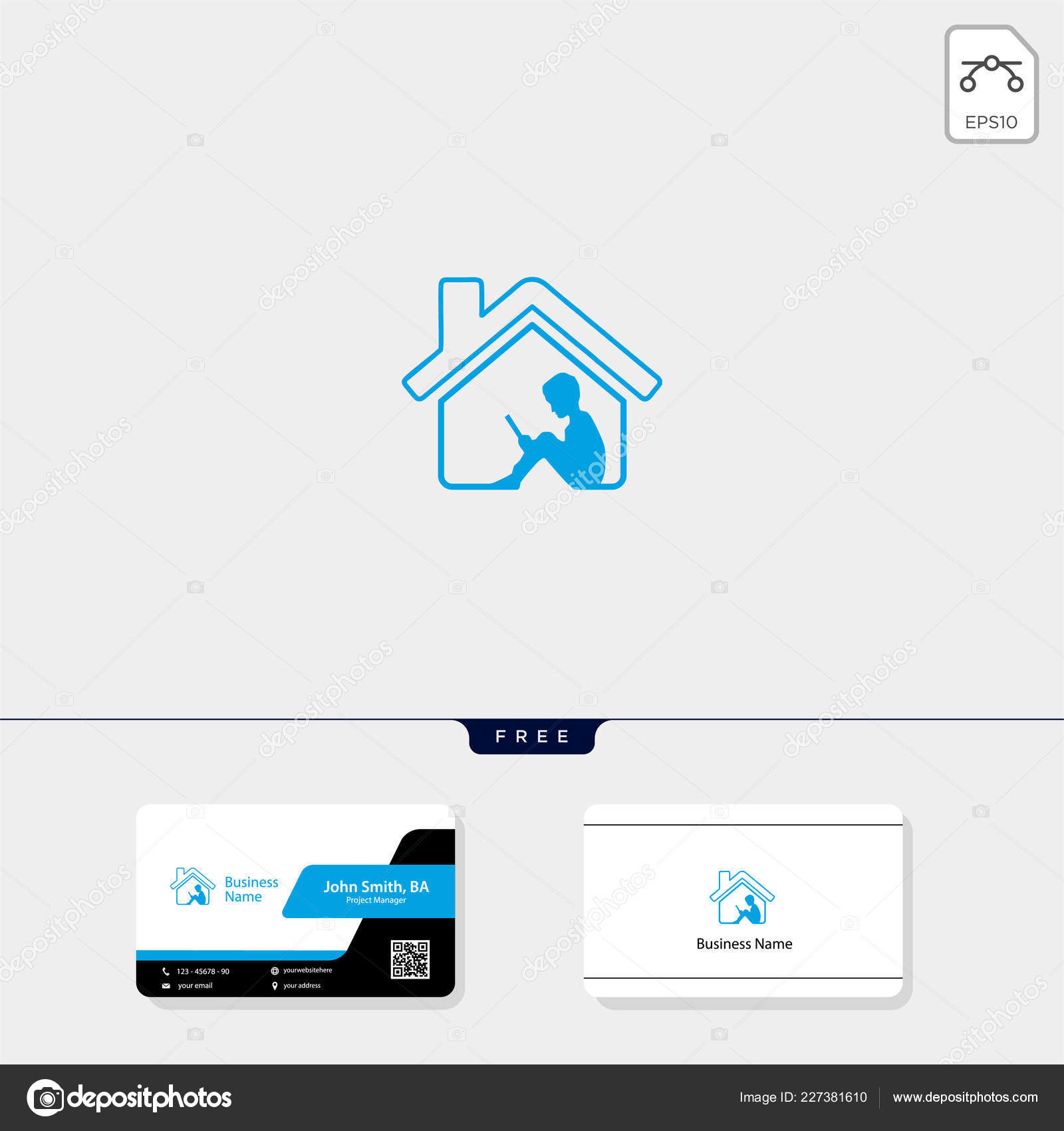 Kind Hause Lernen Konzept Logo Vorlage Vektor Illustration