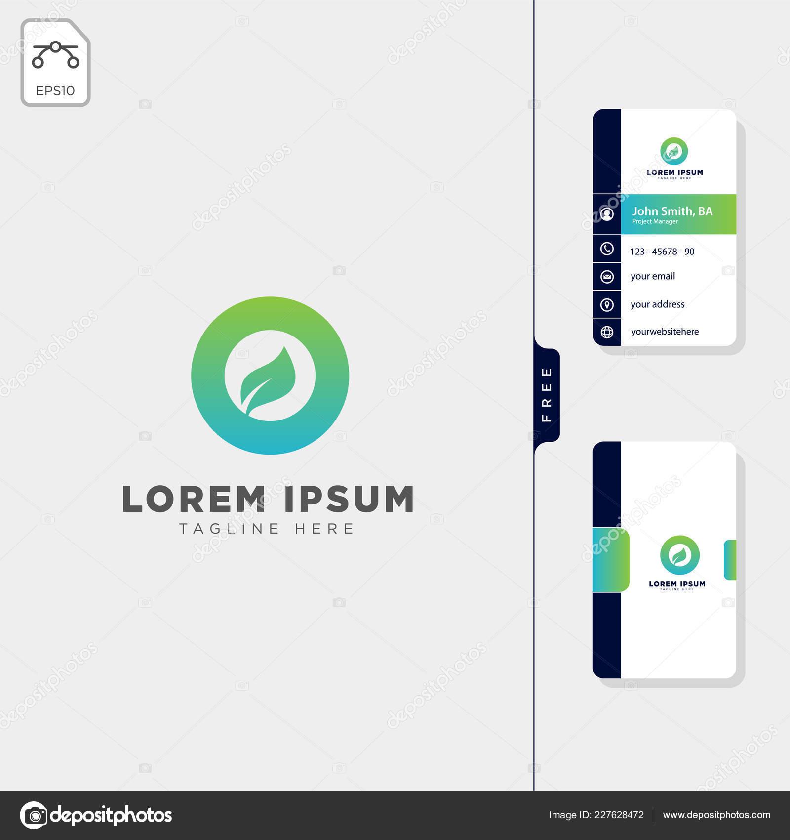 Minimum Feuille Logo Initial Vector Illustration Gratuit Carte Visite Design Image Vectorielle