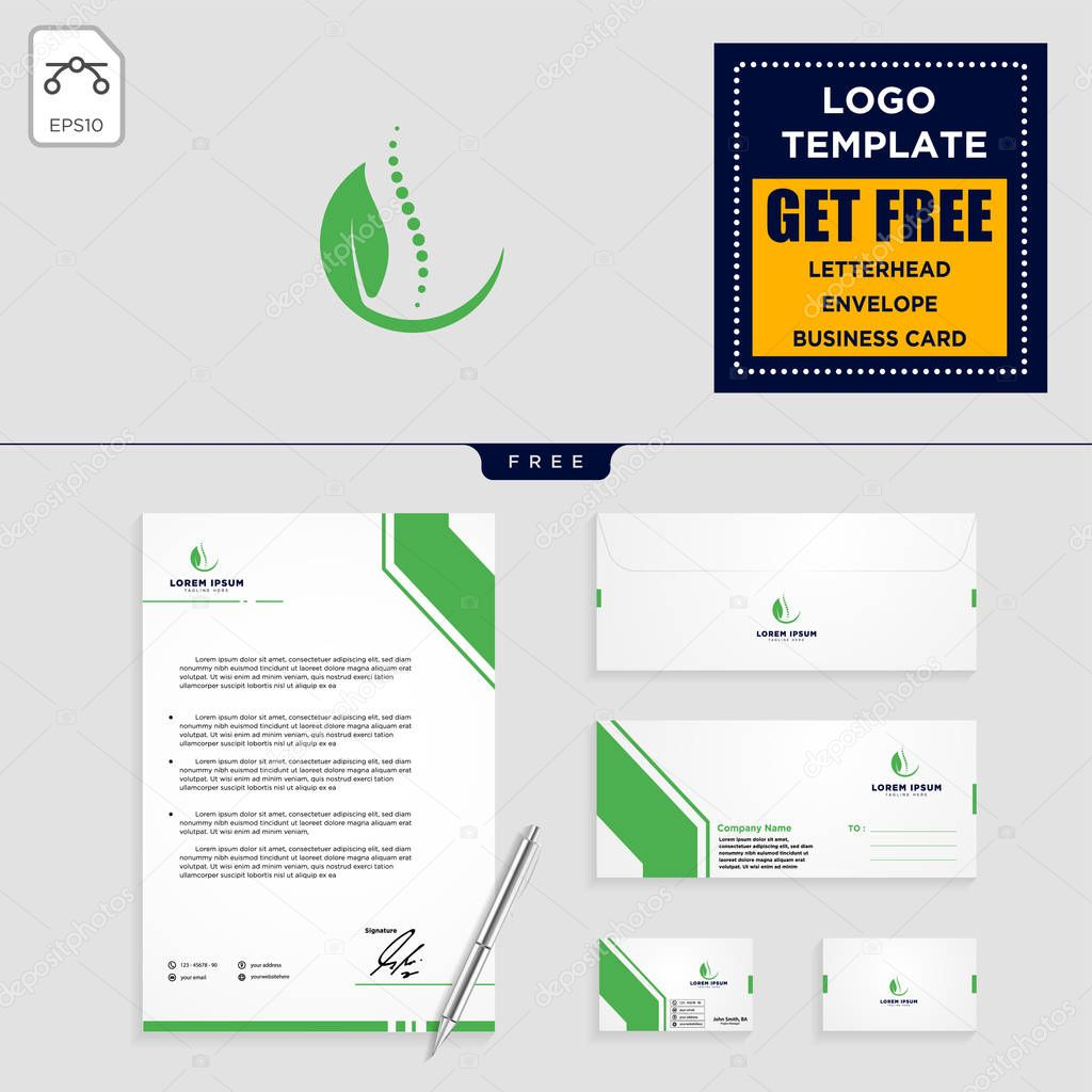 chiropractic leaf logo template vector illustration and stationery, letterhead, envelope, business card design