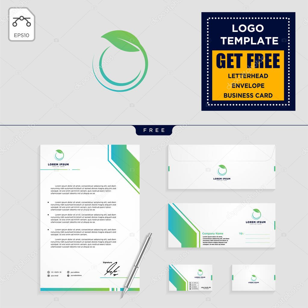 Leaf eco fitness logo template vector illustration and stationery design, letterhead, business card, envelope