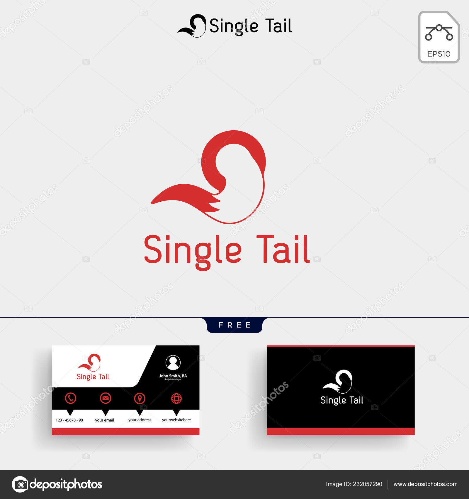 Fox Tail Logo Template Vector Illustration Business Card