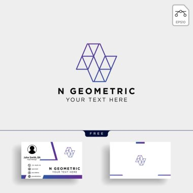 Letter N Geometric Logo template vector illustration with business card template - vector