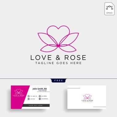 Love Rose Nature logo template vector illustration icon element isolated