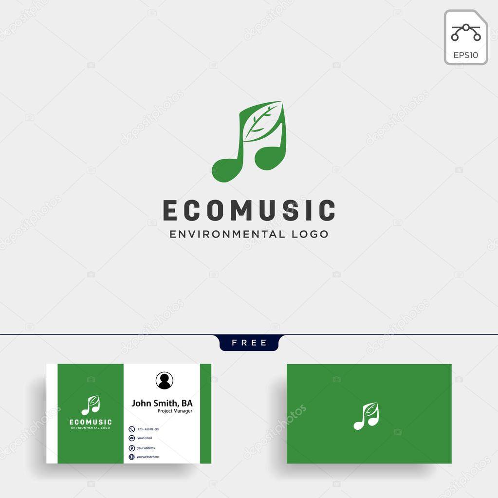 music symbol leaf nature simple logo template vector illustration icon element
