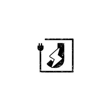 flash logo initial j symbol electrical vector icon element isolated