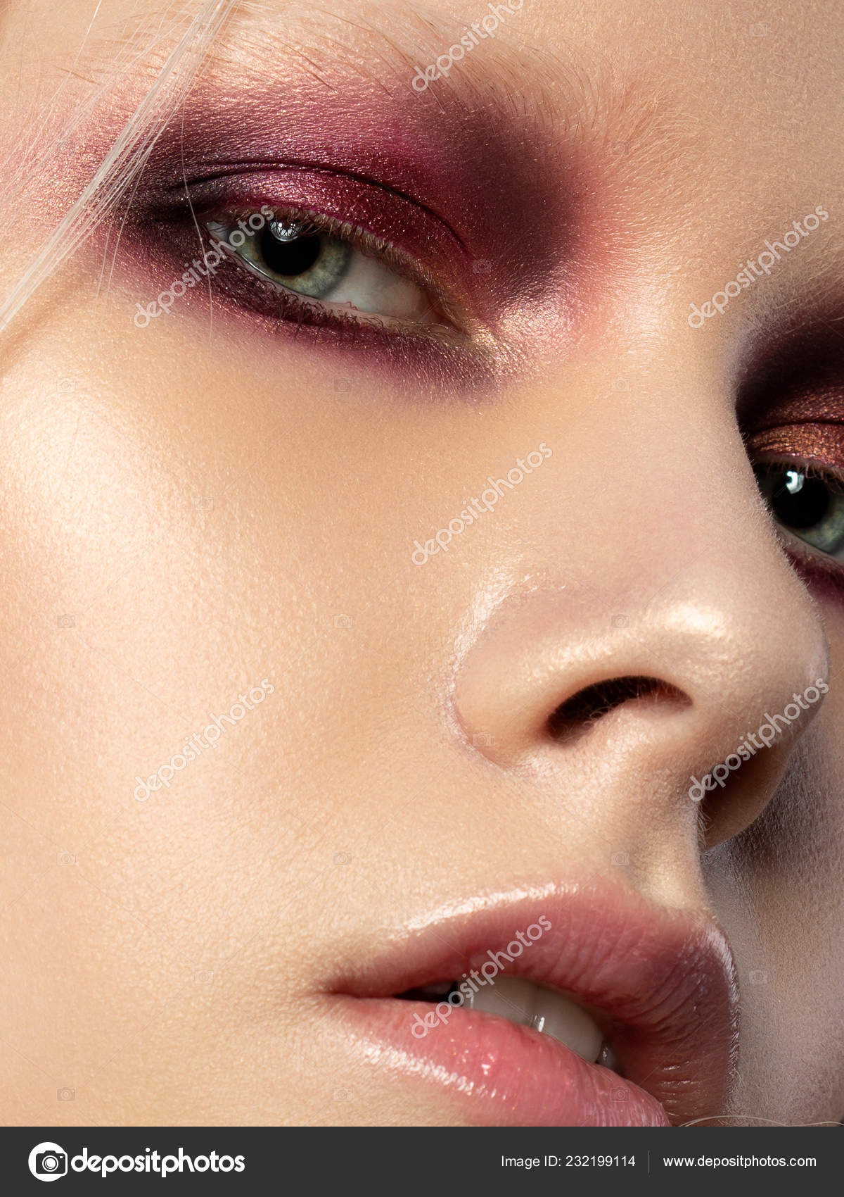 Close Beauty Portrait Young Woman Coral Red Smokey Eyes Perfect