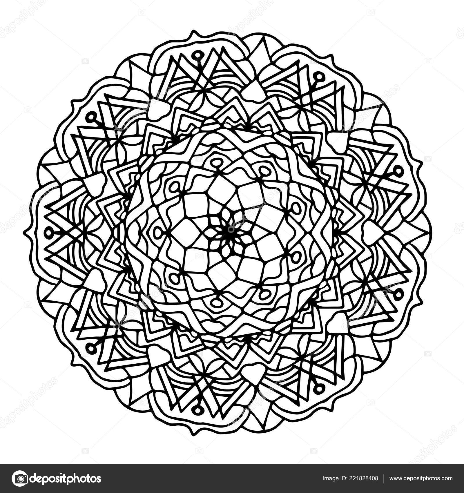 Monochrome Hand Drawn Floral Mandala Anti Stress Coloring Page For
