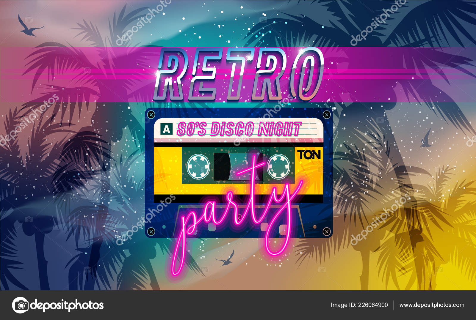 Retro Party Banner Cover Invitation Card Cassete Tape Old