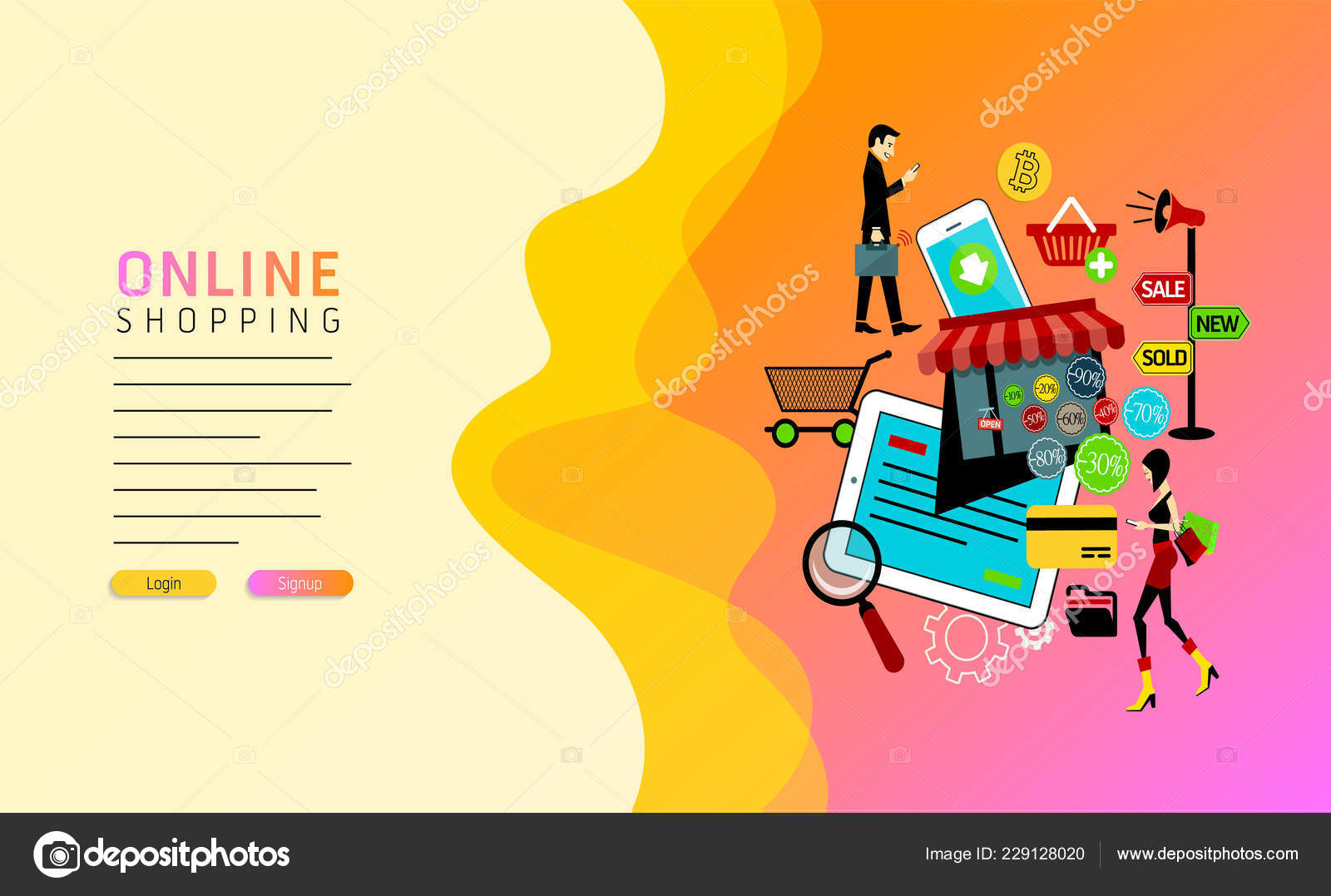 online retailer 49766 ba1cc Modello Web Page Design Shopping Online Digital Marketing ...