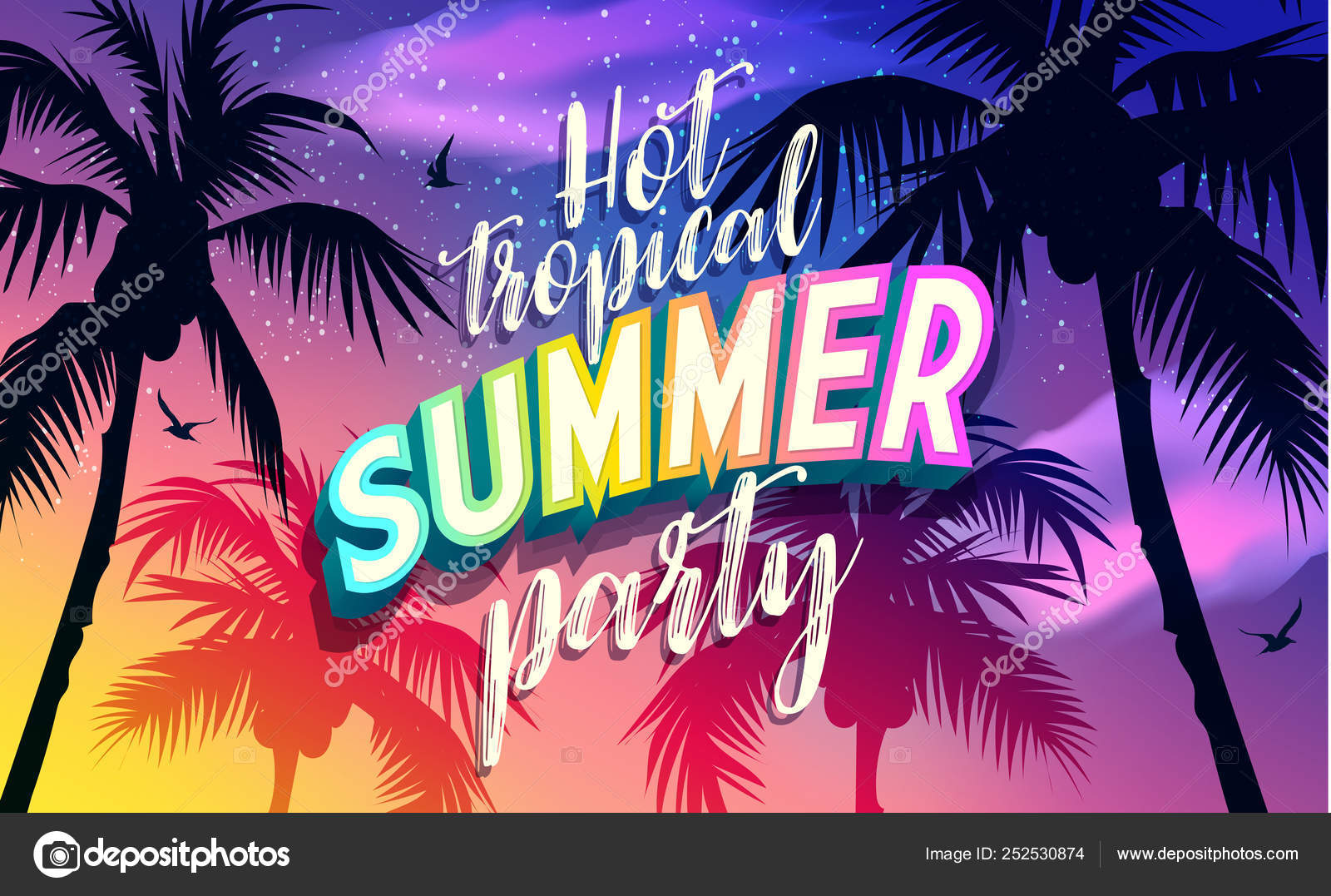 Hot Summer Party Banner New Trendy Sea Sky Vector Texture