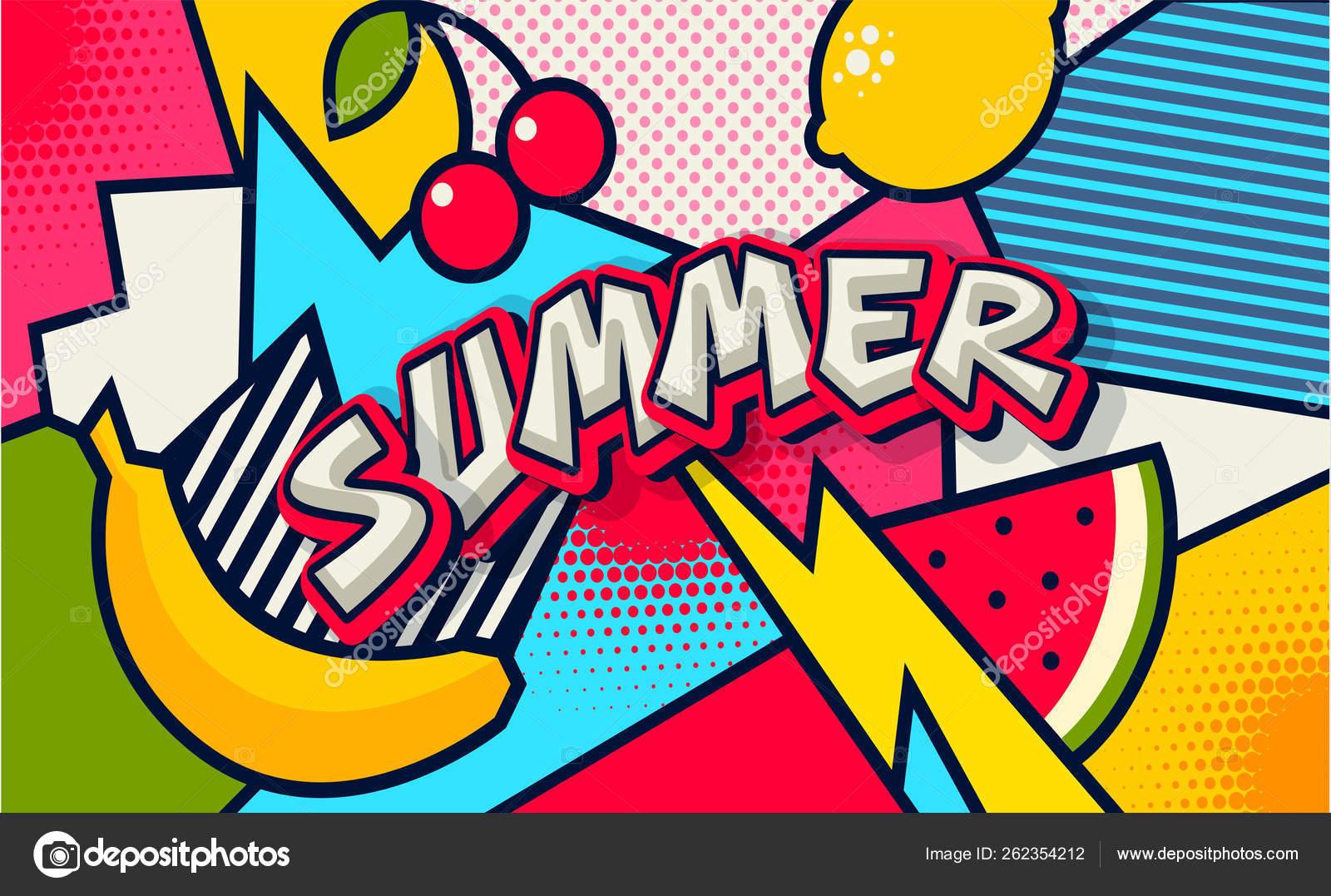 Summer Pop Art Poster Banner Funny Comic Fresh Summer Word