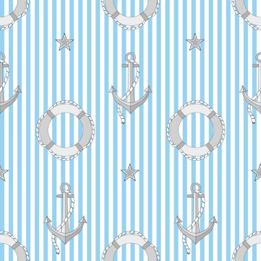 Vector colored seamless pattern on a sea theme.