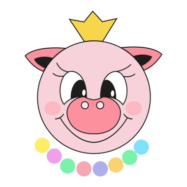 Pig, Cute cartoon symbol of the New Year. 2019. Isolated vector illustration but on white background.
