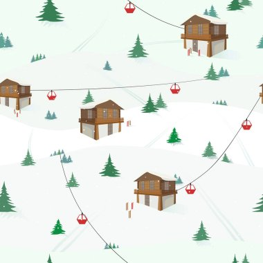 Ski holiday in the mountains. Color vector illustration. Seamless pattern.