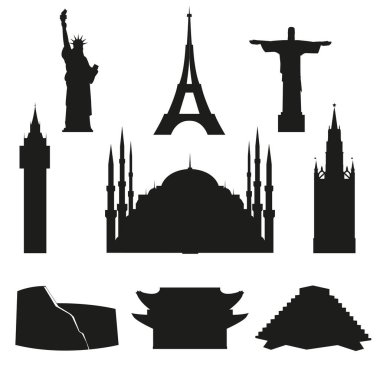Set of vector icons of world architectural landmarks. Black isolated silhouettes on white background.