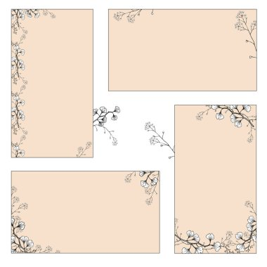 A set of stickers, business cards with hand drawings of black and white Ginkgo branches with leaves. Vector isolated illustration.