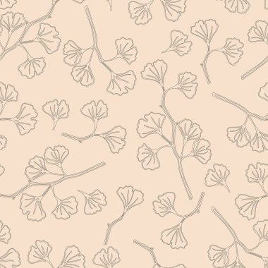 Delicate branches with leaves. Hand-drawing black and white pattern on a vintage pink background. Seamless vector pattern.