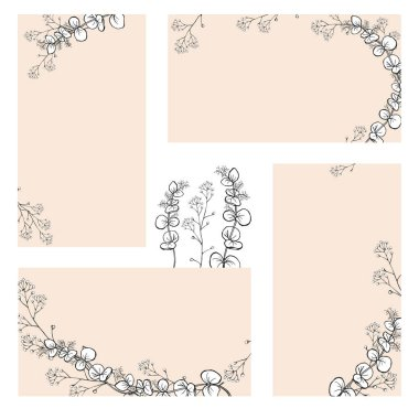 A set of stickers, business cards with hand drawings of black and white eucalyptus branches with leaves. Vector isolated illustration.