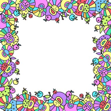 A frame from a funny decor from a group of multi-colored apples. Vector illustration, free for text.