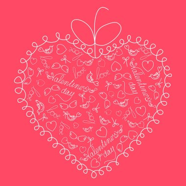 St. Valentine's Day. Cute greeting card with openwork frame and linear patterns of hearts, birds, wings, hand lettering. Isolated vector.
