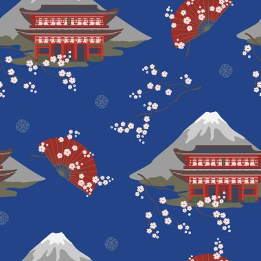 Seamless vector pattern with Asian fans and traditional buildings and mountains . Seamless colored vector.