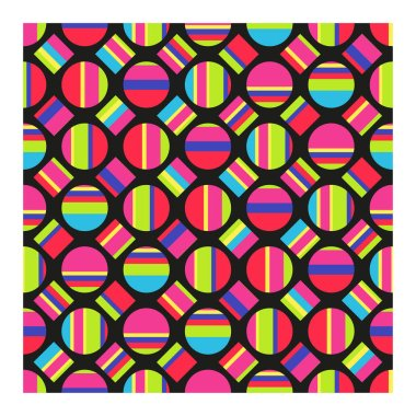 Seamless pattern of multicolored striped circles and squares. Vector illustration.