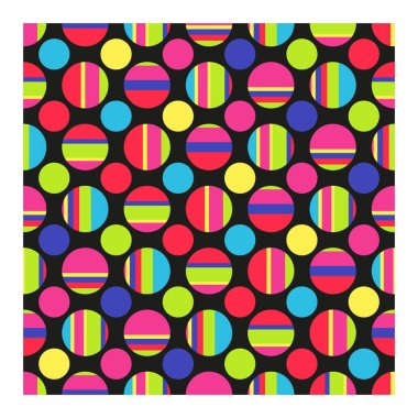 Seamless pattern of bright big and small circles and stripes . Vector illustration geometric forms on black background.