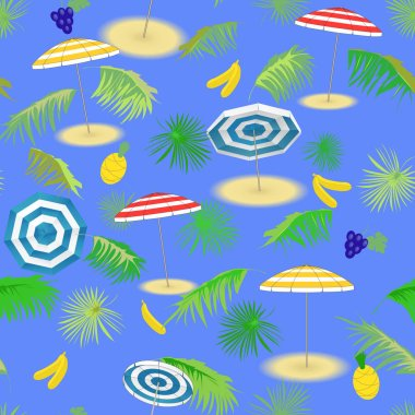 Travel,Tourism. Tropical fruits, seascape with palm leaves and beach umbrellas. Seamless vector pattern.