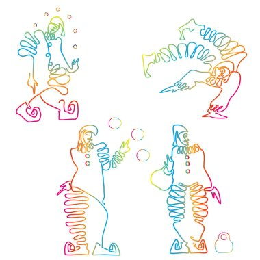 Flat line drawing of clowns with versicoloured effect.Vectorisolated on white background.