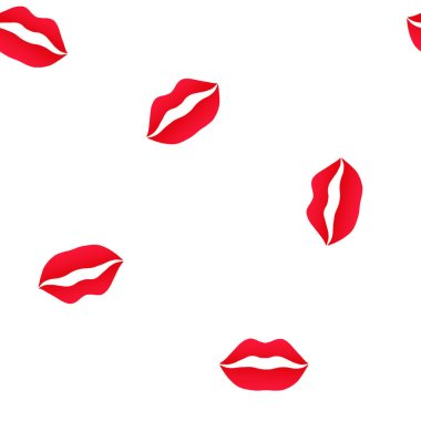 Vector red lips. Seamless pattern on white background.