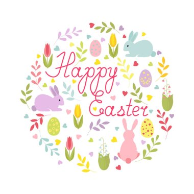 Easter card with cartoon characters and hand-written text in a round composition. Isolated colorful card.