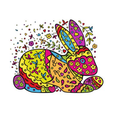 Easter bunny with ornament. Handmade vector colored drawing isolated on white background.