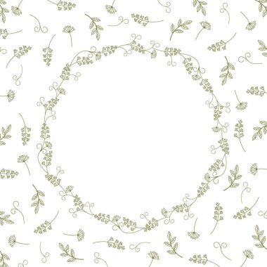 Card with vintage wreath on a background of branches, leaves and antennae.Vintage vector pattern.
