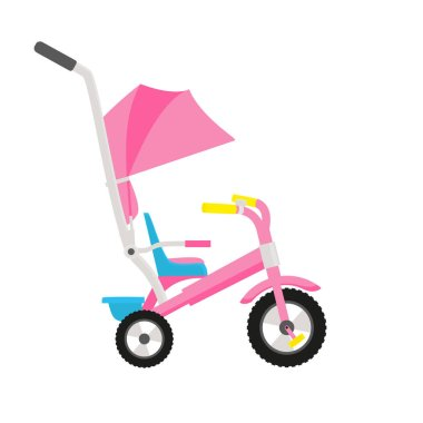 Vector illustration of pink children bike. Wheeled eco transport for kids. Simple flat style