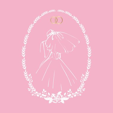 The bride in a long dress and veil with the groom. Vector isolated illustration in oval frame.
