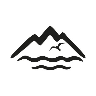 Sun,gull and mountains. Vector black and white icon isolated on black background.
